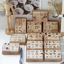 1 Набор, винтажные растения, животные, кофейная жизнь, украшение, штамп, деревянные и резиновые штампы для скрапбукинга, канцелярские принадлежности, сделай сам, ремесло, стандартный штамп