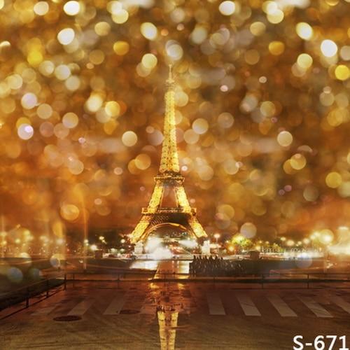 10x10FT Orange Spots Light Sky Sparkles Eiffel Tower