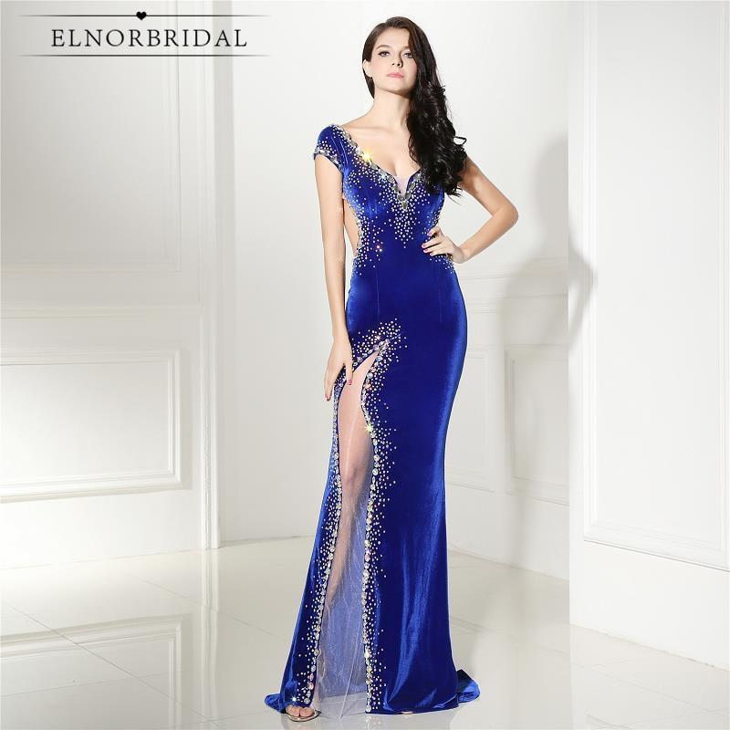 Elnorbridal Real Photo Velvet Evening Dresses Mermaid Royal Blue 2019 Avondjurk Robe De Soiree Prom Dress