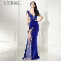 Elnorbridal Real Photo Velvet Evening Dresses Mermaid Royal Blue 2019 Avondjurk Robe De Soiree Prom Dress Formal Party Gowns