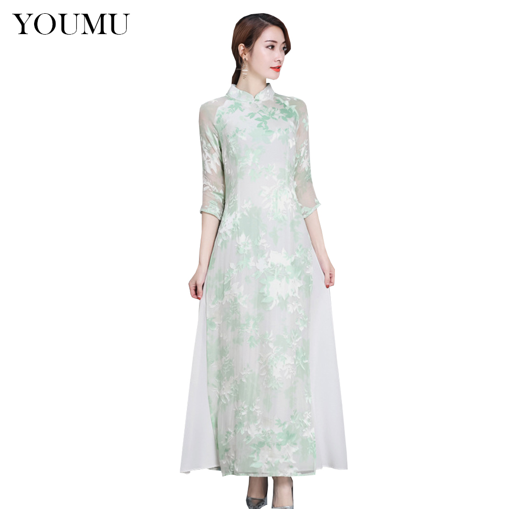 Women Vintage Chinese Qipao Cheongsam Dress 2 Layers Printed Loose Long Ao  Dai Spring New Chinese Style Slim Cheongsam 200 A717-in Dresses from Women s  ... 52f9a35e2a87