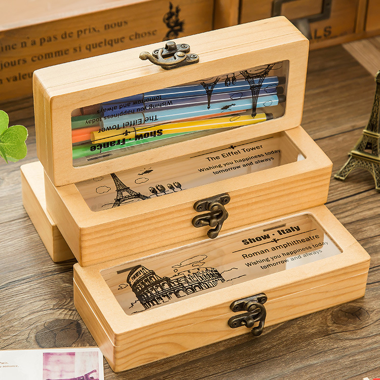 Fashion Retro Wooden Pencil Case Famous Building Pattern Creative Buckle Storage/Pencil Box The Best Gift Stationery for Student kz headset storage box suitable for original headphones as gift to the customer