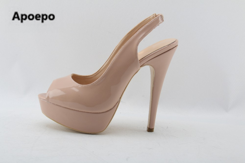 Apopeo Brand Peep Toe Nude Patent Leather Sky High Heels Pumps Classic Ladies Stiletto Heels Platform Women Shoes Party Wedding apopeo nude patent leather peep toe
