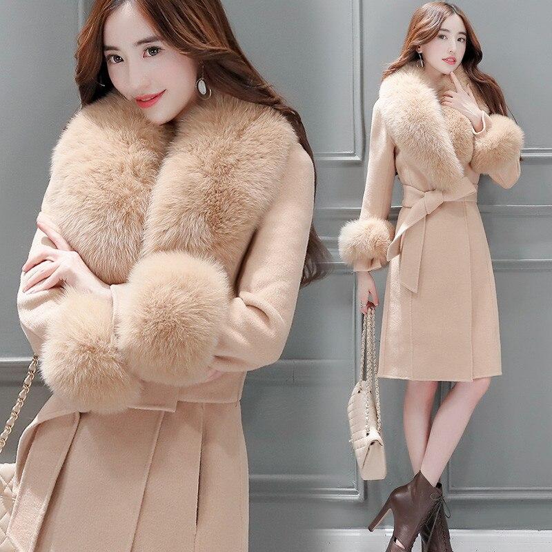 New Elegant Slim Long Trench Coat Women Autumn Winter Wool Blend Coat Female Long Sleeve Woolen