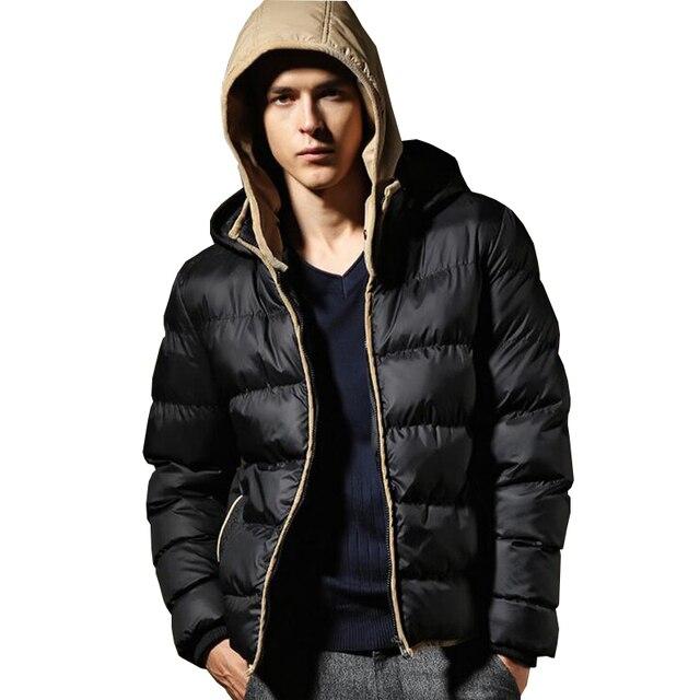 Новый Бренд Зимняя Куртка Мужчины Парки бомбардировщик куртка С Капюшоном Пальто Лоскутное Ватник Мужской Куртка Мужчины хлопок-проложенный одежды