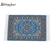 1:12 dollhouse Miniature Carpet Model Pure Weaving Turkey Imported Carpet Toys Blue Starry Mats Children's Toys DIY Dollhouse(China)