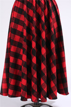 Autumn Winter Saia Feminina 6XL 7XL Maxi Long High Waist Women's Wool Fireside Plus Size Tartan Plaid Print Skirt