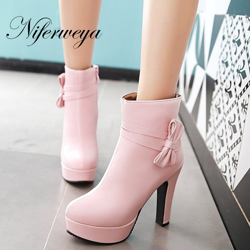 Big size 33-46 Winter women shoes fashion bowknot decoration short boots sexy Round Toe platform high heel zipper Ankle boots fashion pointed toe lace up mens shoes western cowboy boots big yards 46 metal decoration
