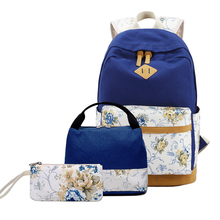 Women Backpack Floral Canvas Printing Bagpack Schoolbag Teenager Girl Rucksack for Lunch Box Korean Wind Sac A Dos 3pcs/set Bag