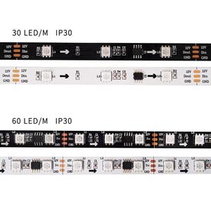 Image 4 - 5M WS2811 LED Strip DC12V Ultra Bright Highly Efficient 5050 SMD RGB LEDs High Light Addressable 30/48/60leds/m White/Black PCB