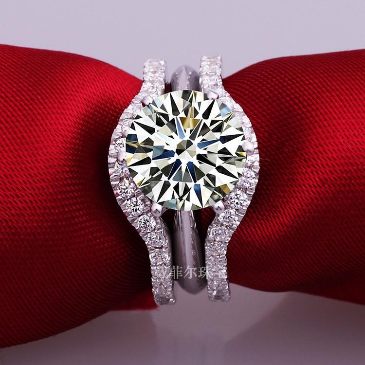 925 Sterling Silver 2Ct SONA syntetyczny diament kobiety Wedding Ring klasyczna biżuteria pierścionek zaręczynowy zestaw w Pierścionki od Biżuteria i akcesoria na  Grupa 1