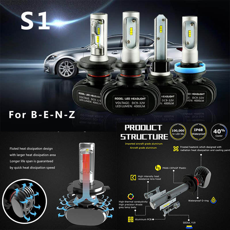 2Pcs 8400LM 12-24V DC 60W Car LED Headlight W211 W203 W204 W124 W201 AMG W202 W212 W220 Auto LED Head Bulb HI/LO Beam HeadLamp все цены