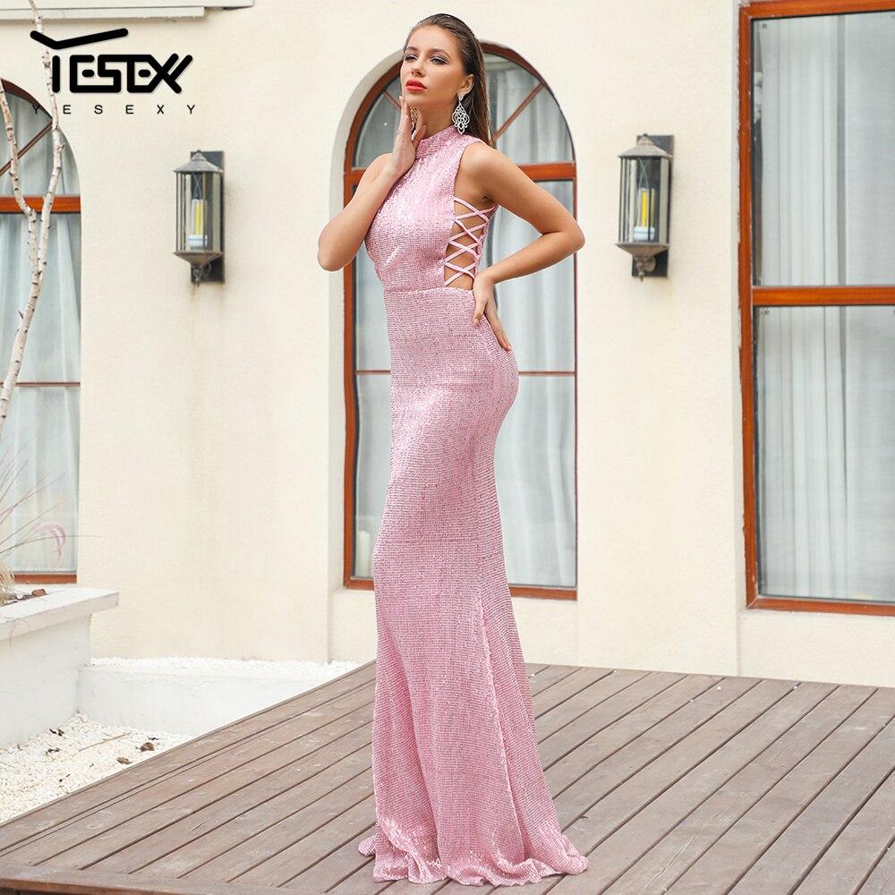 Robes Vr18482 Sequin 2019 O Robe Moulante Femmes Partie Lacets Yesexy De 3 À Sexy Réfléchissant Cou Élégant Maxi XawqYHx