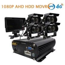 """Бесплатная доставка 4ch GPS 4 г 1080 P AHD 2 ТБ HDD жесткий диск Видеорегистраторы для автомобилей Видео Регистраторы в реальном времени Мониторы сбоку заднего вида автомобиля Камера 7 """"Мониторы"""