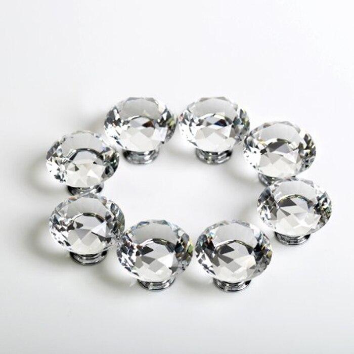 8pcs kitchen cabinet knobs clear crystal dresser drawer pulls diamond furniture knobs silver zinc alloy