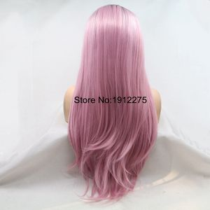 Image 4 - Sylvia U Part Pink Hair Long Natural Straight Synthetic Lace Front Wig Dark Root Heat Resistant Fiber Cosplay Wig Middle Part