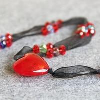 30*30 Naturel coeur Forme Verre & soie Perles pierre Naturelle Collier pour femmes filles cadeau conception De fabrication de Bijoux 30 pouces en gros