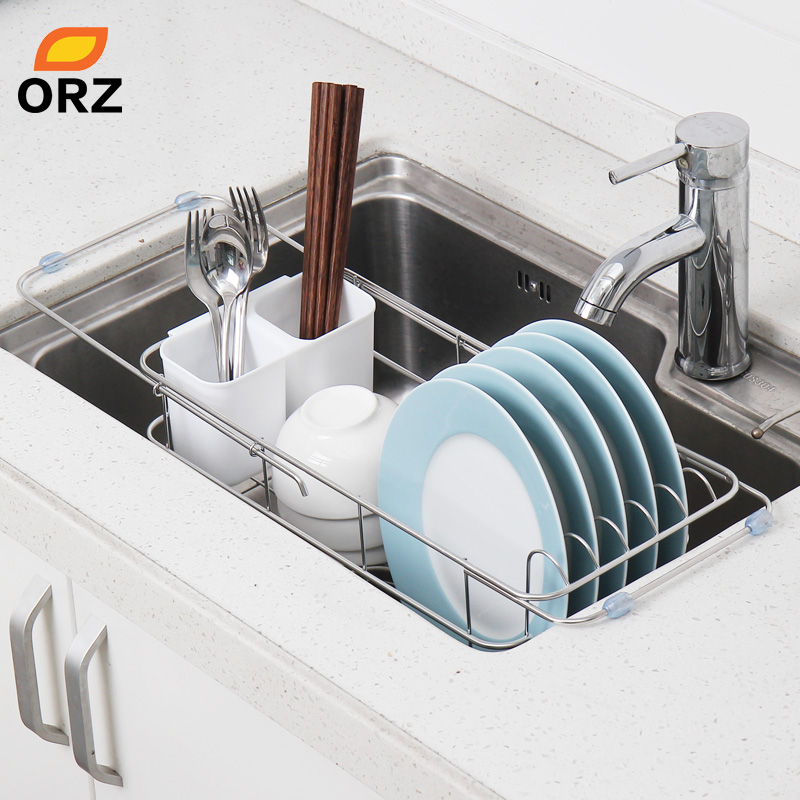 ORZ Expandable Dish Rack Kitchen Storage Holder Sink Drainer Bowl Tableware Drying Rack Home Shelf Kitchen Utensil Organizer