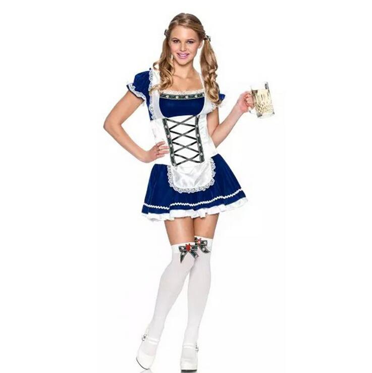 Adult Women Carnival October Festival Oktoberfest Costume Germany Beer Girl Maid Dress Party Outfit
