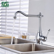 FLG Solid Brass Kitchen Faucet Mixer Single Hole 360 Rotate Kitchen Tap Silver Chrome Kitchen Sink