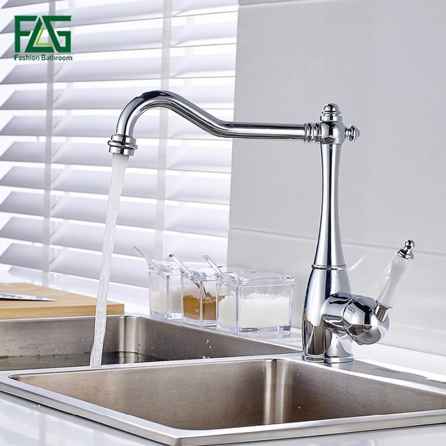 FLG Solid Brass Kitchen Faucet Mixer Single Hole 360 Rotate Kitchen ...