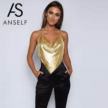 Anself Elegant Metal Crop Top 2019 Summer Sexy Backless Bralette Camisole  Beach Halter Gold Sequin Party Club Women Tank Top aedbe275790b