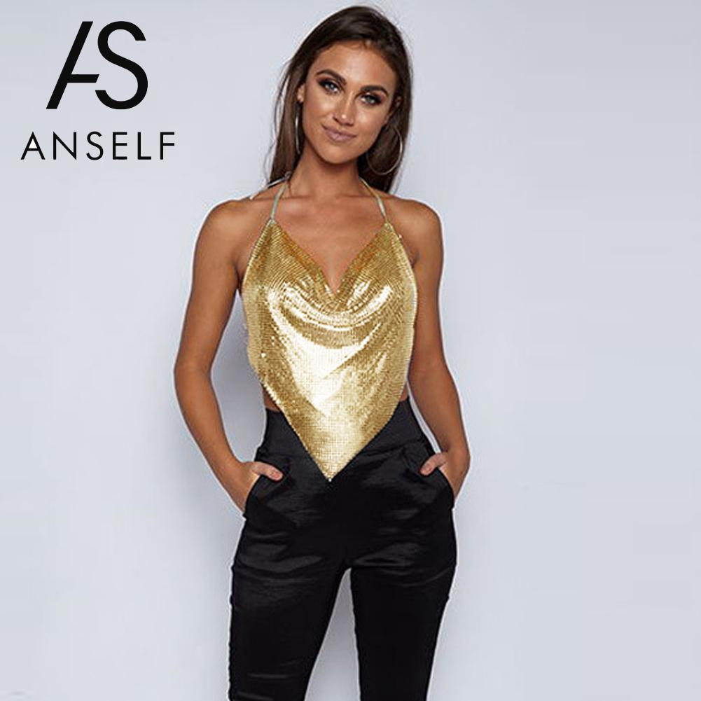 Anself Elegant Metal Crop   Top   2017 Summer Sexy Backless Bralette Camisole Beach Halter Gold Sequin Party Club Women   Tank     Top