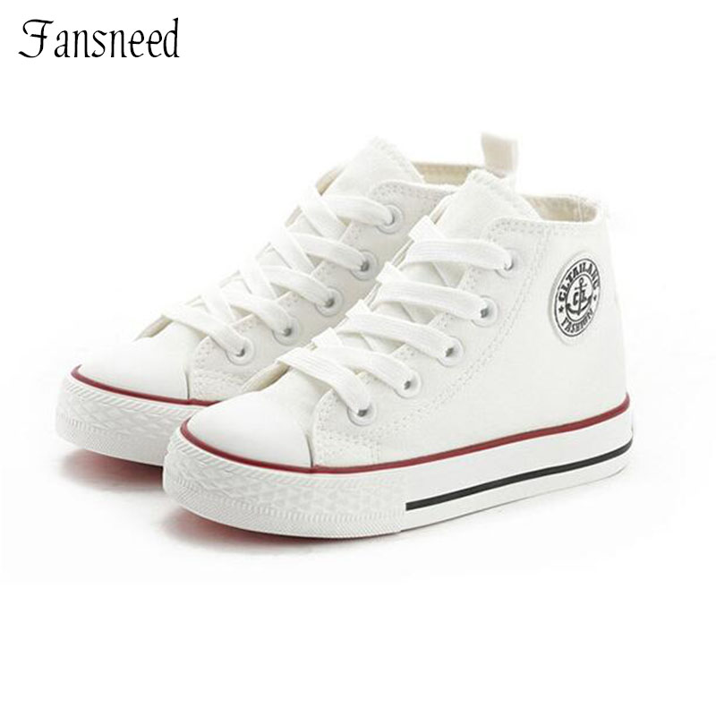 High-top Children's Canvas Shoes Spring Boy And Girls Shoes Summer Korean Version Of White Baby Cloth Shoes Sports Shoes