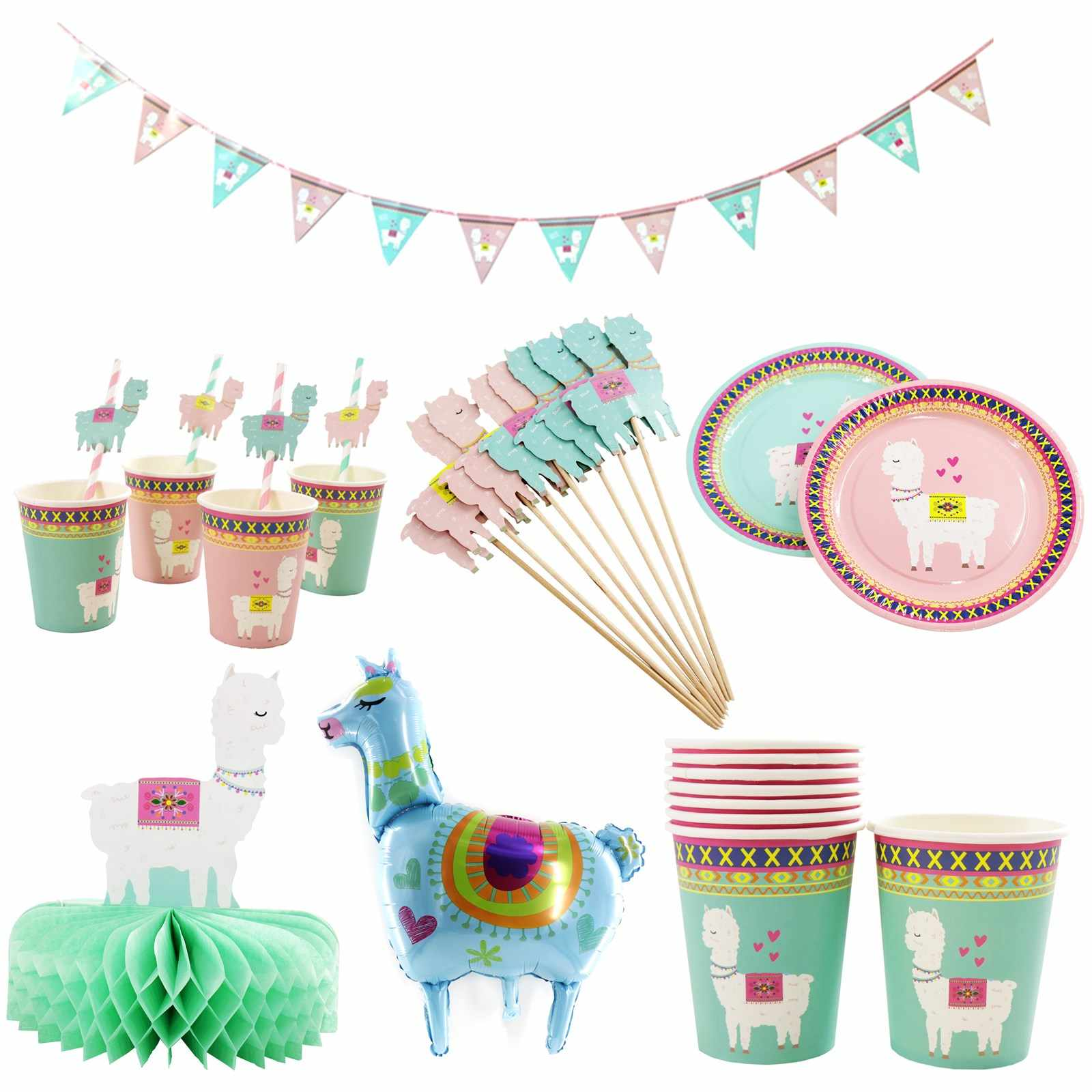 אלפקה יום הולדת מסיבת קישוט Llama אלפקה נייר צלחות כוסות מפיות עוגת טופר לילדים שמח מסיבת יום הולדת דקור וגינה