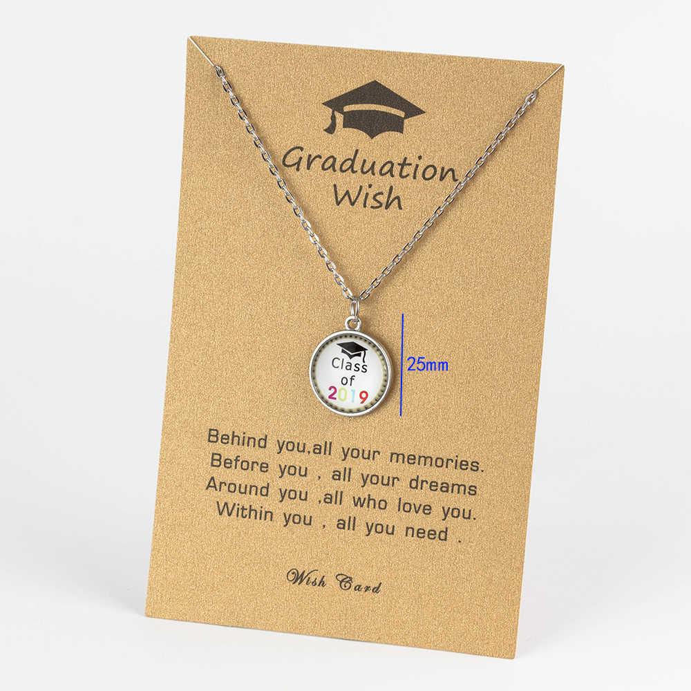 Sliver 2019 wspomnienia ze stali nierdzewnej Graduation sezon kart serii naszyjnik uczeń kobiety oświadczenie naszyjnik biżuteria prezent