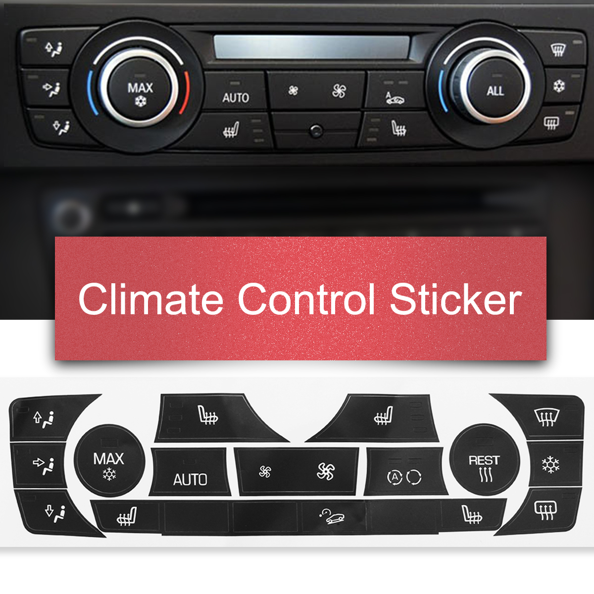 AC Climate Control Button Sticker Repair Replacement Kit For 2007-2013 BMW