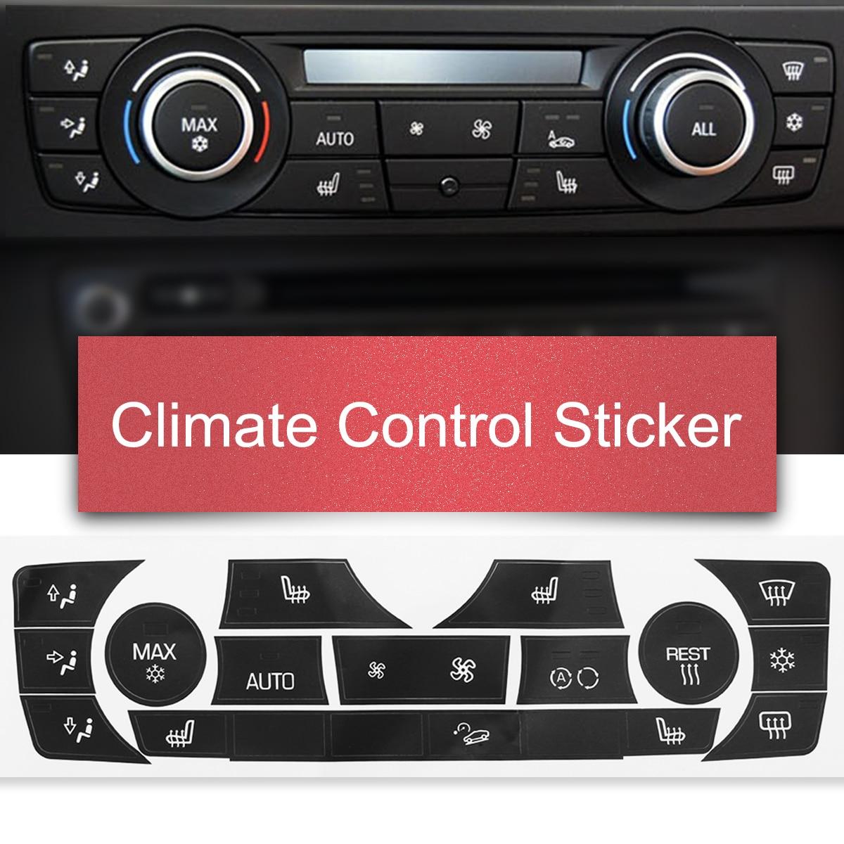 Car Sticker Ac Climate Control Button Sticker Panel Button Repair Decal Kit For 2006-2011 Bmw E90 E91 E92 330i Regular Type Auto Replacement Parts