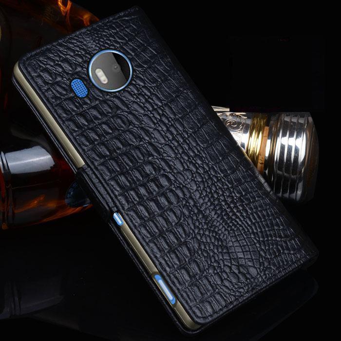 Nouveau Luxe D'origine Marque Véritable Crocodile En Cuir Téléphone Cas Pour Nokia Lumia 950XL Mode Téléphone Sacs Pour Microsoft 950 XL