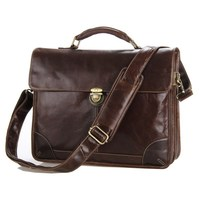Free Shipping High Quality Selection Vintage 100 Guarantee Genuine Leather Men Briefcase Portfolio Messenger Bags MW140105