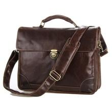 Vintage 100% Guarantee Genuine Leather Men Briefcase Portfolio Messenger Bags #M7091