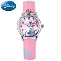 Frozen Elsa Princess Cuties Girls Leather Quartz Pink Blue Rhinestone Fashion Simple Watches Disney Children Kid