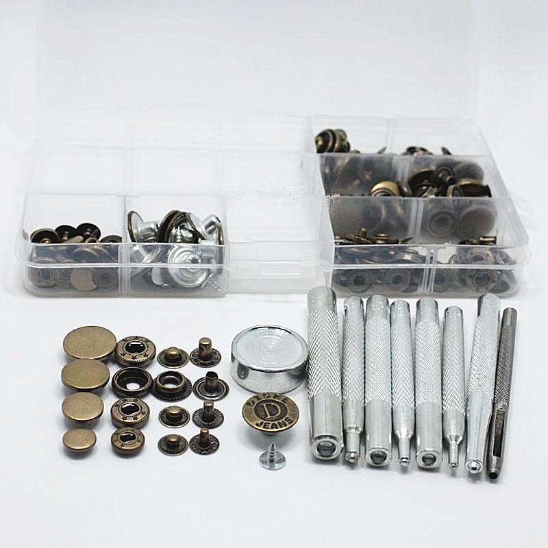 10-17mm 5 Stil 50 satz Metall Druckknopf Presse Stud Tasten Poppers Leder Handwerk Jeans Taste + 9 stücke Befestigung Werkzeuge Kit + Lagerung Box