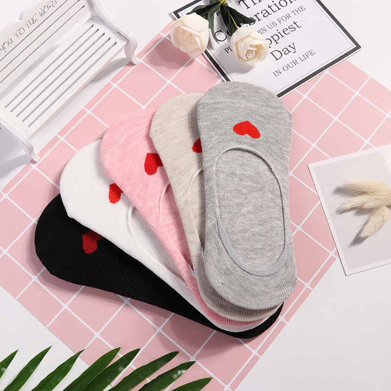 5pairs Ankle Socks Women Sock Cotton No Show Non-slip Short Boat Sock Womens Invisible Soft Heart Winter Autumn Sock Slippers