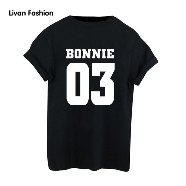 03 >> Bonnie 03 Letter Printed Summer Short Sleeve T Shirt Hippie Funny