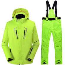New Fluorescent green Man Snow clothes outdoor snowboarding suit waterproof -30 winter Costumes ski suit set jackets + bibs pant