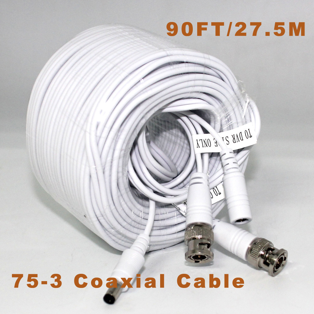 27.5m CCTV Video Cable Video+Power BNC+DC 90FT BNC Coaxial Cable CCTV Accessories 75-3 Coaxial Cable dc bnc шнур 5м