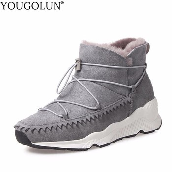 YOUGOLUN Fur Wool Genuine Suede Snow Boots For Women Winter Lady Wedges Heel Ankle Boots Woman Gray Black Cross Strap Shoes B173 suede