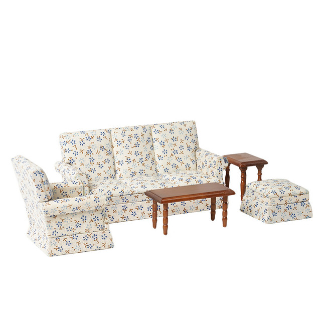 Flower Patterned 1:12 Doll House Sofa and Tables 5 pcs Set