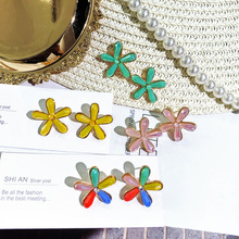 DREJEW Green Pink Yellow Colorful Crystal Flower Statement Earrings Alloy Drop for Women Wedding Fashion Jewelry HE7441