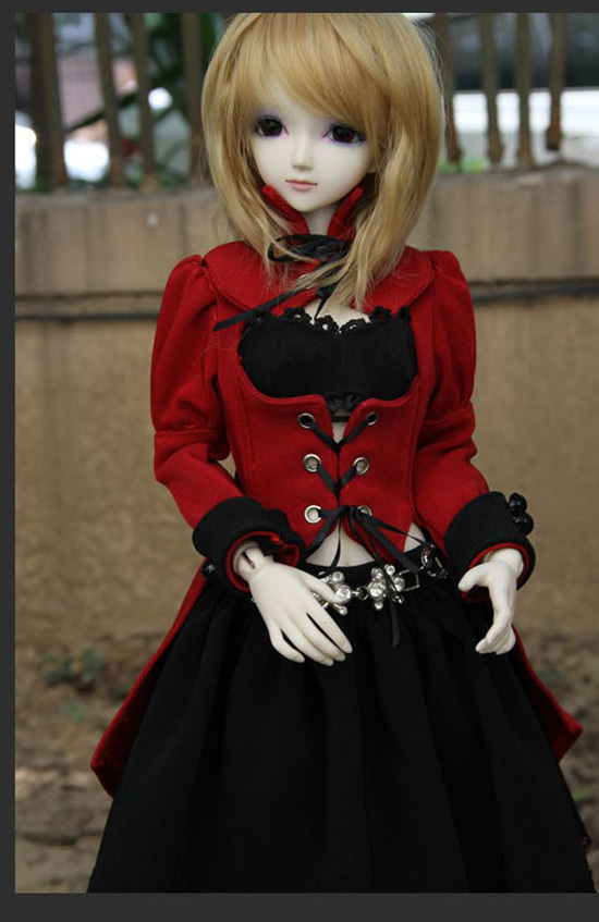 Cosplay Red&Black Uniform Dress for 1/4 MSD,1/3 SD10,SD13,SD16,DD Large Girl BJD Doll Super Dollfie Clothes CUSTOMIZED CW22 new bjd doll jeans lace dress for bjd doll 1 6yosd 1 4 msd 1 3 sd10 sd13 sd16 ip eid luts dod sd doll clothes cwb21