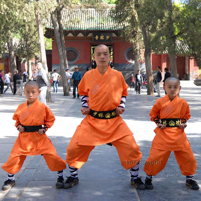 Orange Shaolin Monk Suit Kung fu Martial arts Clothes Wushu Tai chi Uniform new high grade tai chi uniform wudang men women taoist robe shaolin monk suit martial arts clothes wing chun kung fu clothing