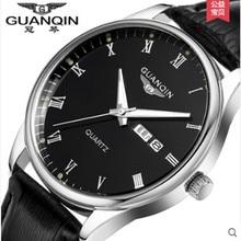 2016 GUANQIN Hombres Relojes Mecánicos de Cuarzo Analógico Reloj 100 m Impermeable Reloj de Los Hombres de Acero Inoxidable Reloj Relogio masculino reloj