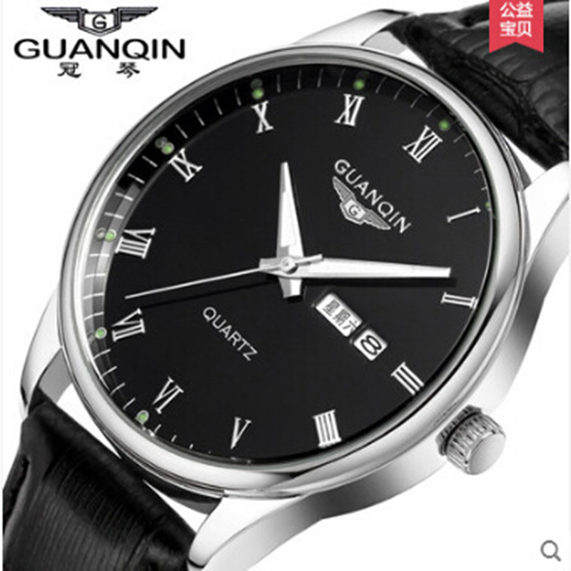 ФОТО Reloj Luxury Brand GUANQIN Quartz Men Watch Sport Analog Waterproof Watches Leather Strap Watches Clock Relogio Masculino