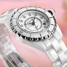 SOLLEN алмаз белые керамические водонепроницаемые часы сапфир круглый календарь моды кварцевые часы SL9018
