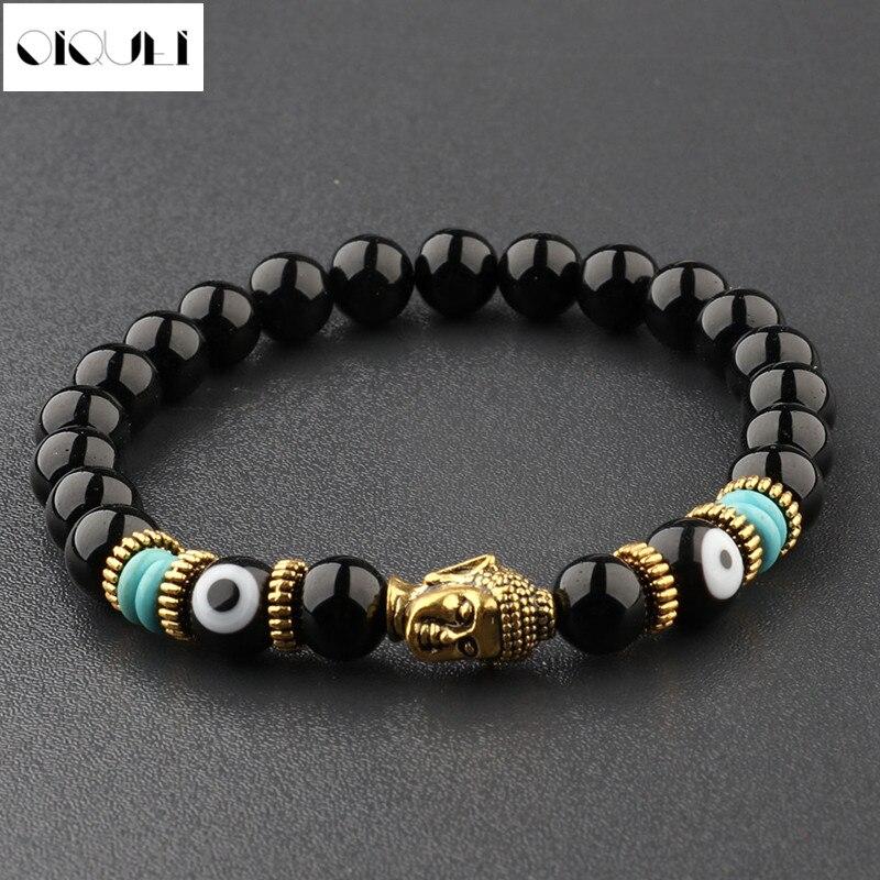 OIQUEI Unisex Natural Obsidian Eyes Beads Gold Gasket Charm Buddha Head Lucky Bracelets
